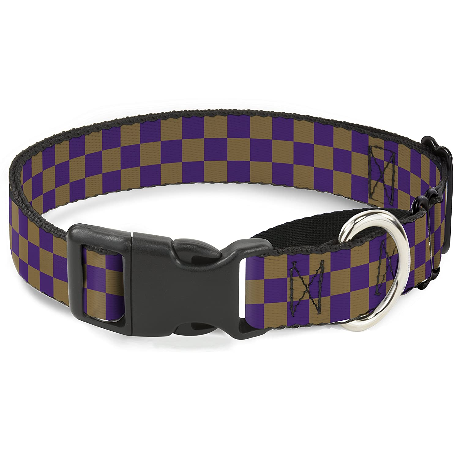 Buckle-Down Checker Purple gold Martingale Dog Collar, 1  Wide-Fits 9-15  Neck-Small
