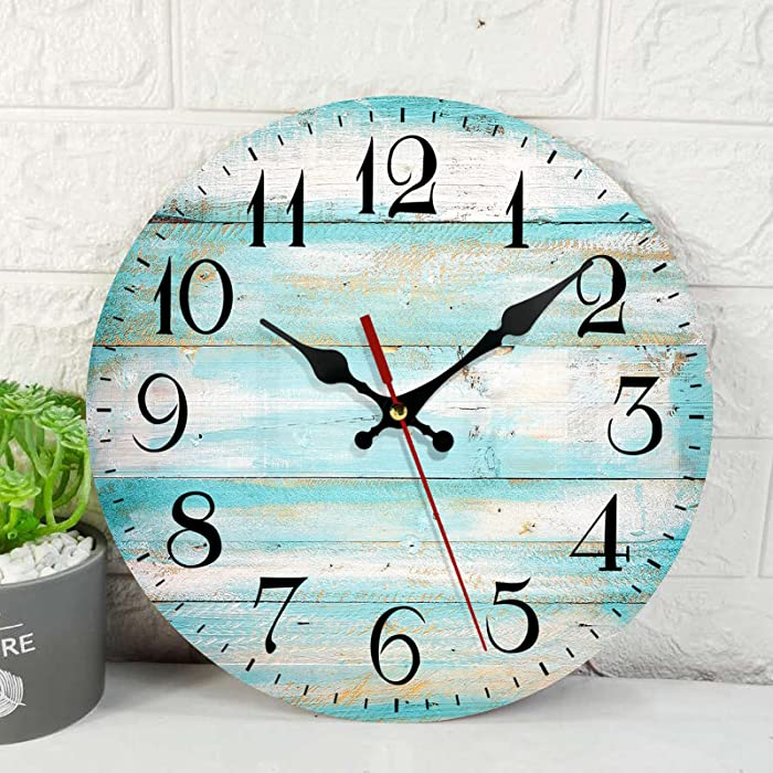 Wooden Wall Clock Silent Non-Ticking , Vintage Beach Wood Old Teal Round Rustic Wall Clocks Decor for Home Kitchen Living Room Office, Battery Operated(12 Inch)