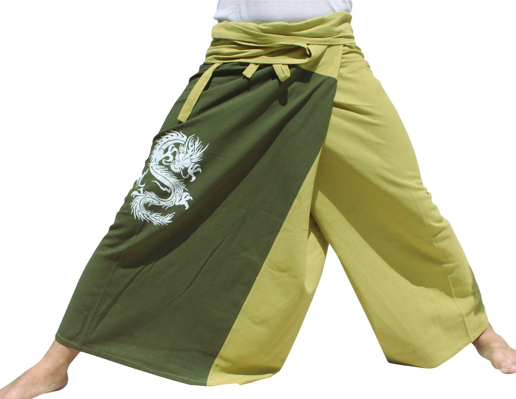 Raan Pah Muang Thick Cotton Two Color Fire Dragon Samurai Wrap Pants, X-Large, Green Tab Dark Green by Raan Pah Muang