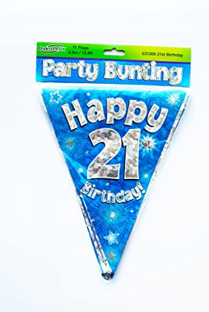 Happy 21st Birthday Flag Bunting Age Boys Blue Pennant Banner Party Decorations Amazoncouk Toys Games