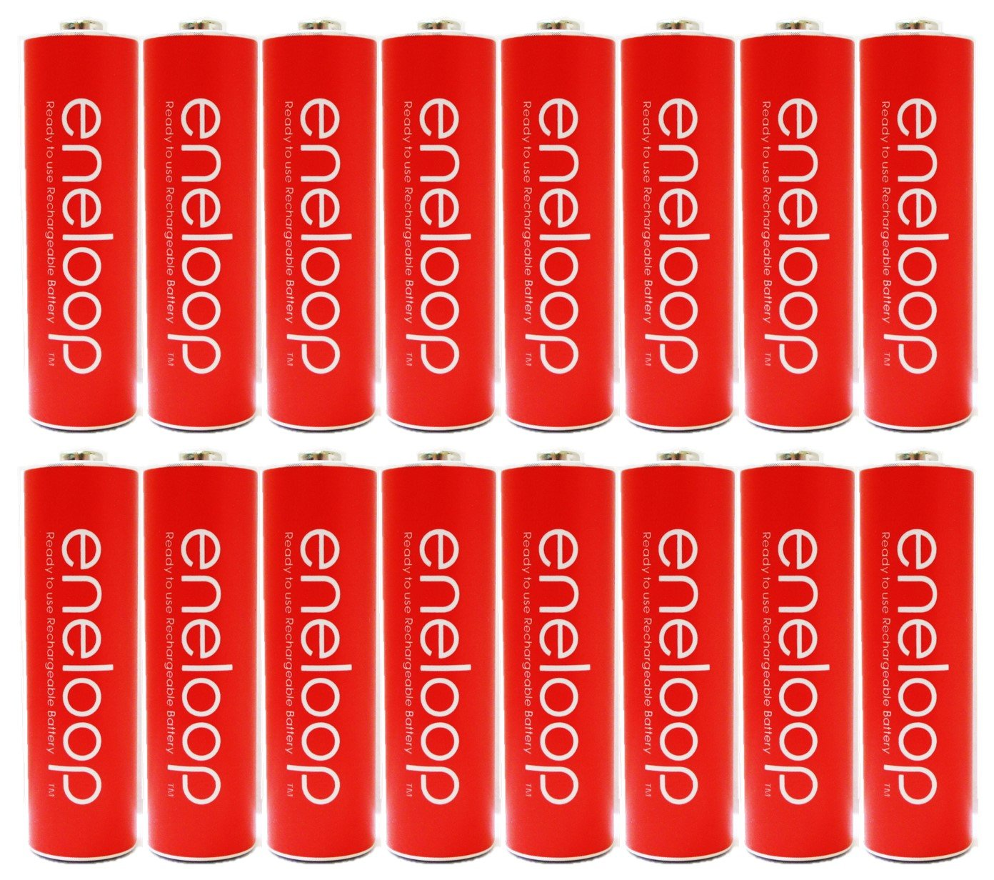 Eneloop Panasonic AA NiMH Pre-Charged Rechargeable Batteries with Holder, 16 Pack, Red by eneloop