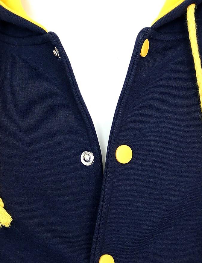 BCPOLO Hoodie Baseball Jacket Varsity Baseball Jacket Cotton Letterman Jacket Navy-Yellow-L