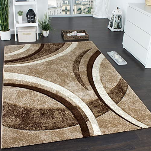 Area Rug with Contour Cut Striped Pattern Brown Beige and Cream Mixture, Size 5 3 x 7 7