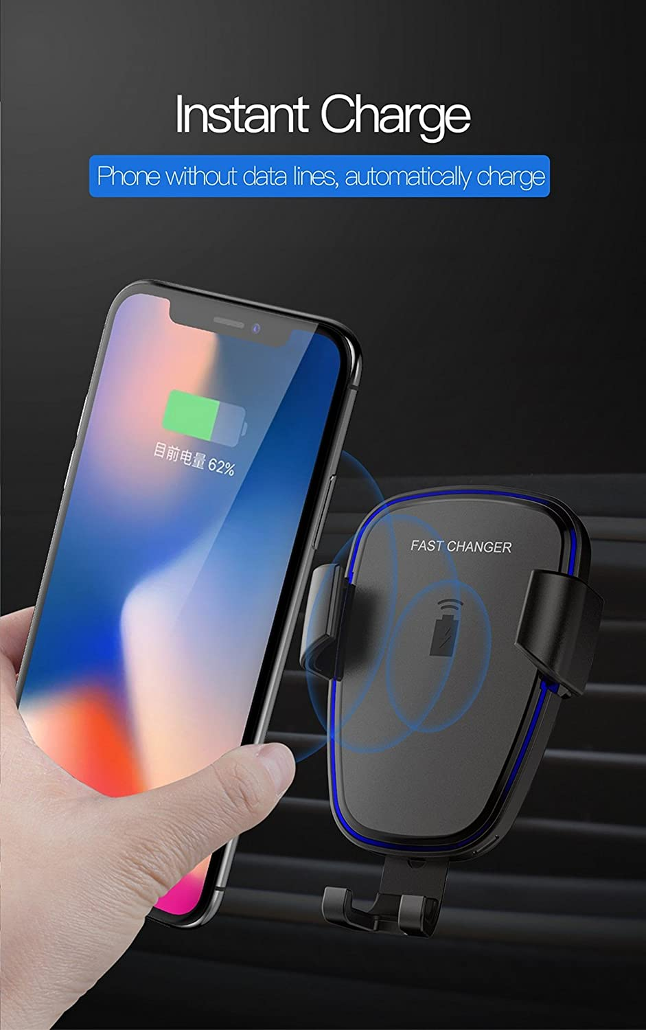 8//8 Plus /& Qi Enabled Devices CW12 Vent Mount LY S7//S7 Edge Note 8 5 /& Standard Charge for iPhone X Lian LifeStyle Qi Wireless Fast Charge Car Mount for Samsung Galaxy S8