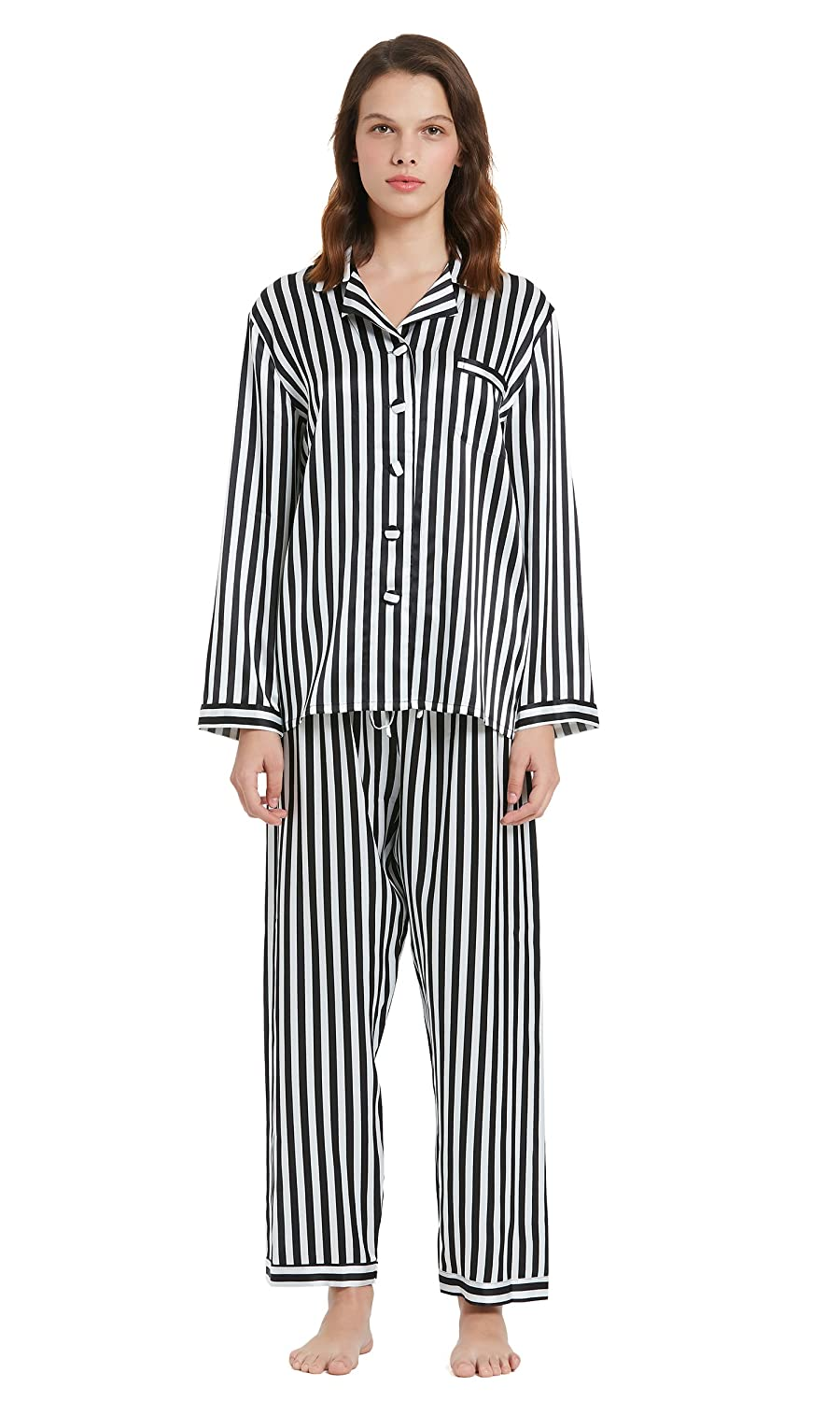6ff49a80e2e2d LilySilk Silk Pajamas Set for Women 22 Momme Soft with Black and White  Stripe Long Sleeve Loungewear at Amazon Women s Clothing store