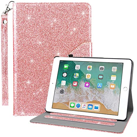 Dailylux Case for New iPad 9.7 Inch 2018/2017,Glitter Sparkle 360 Degree Rotating Stand Bling Case Luxury Faux Leather Case with Strap Auto Sleep/Wake ...