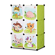 ALEKO SCAB03GR Whimsical Children's 3 Level 6 Cube Interlocking Multipurpose Animal Themed Storage Organizer in Green