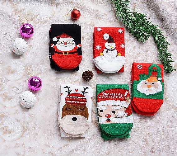 6 Paia Donna Calzini Donna Albero di Natale Babbo Natale Renne Novità Calzini UK 4-7