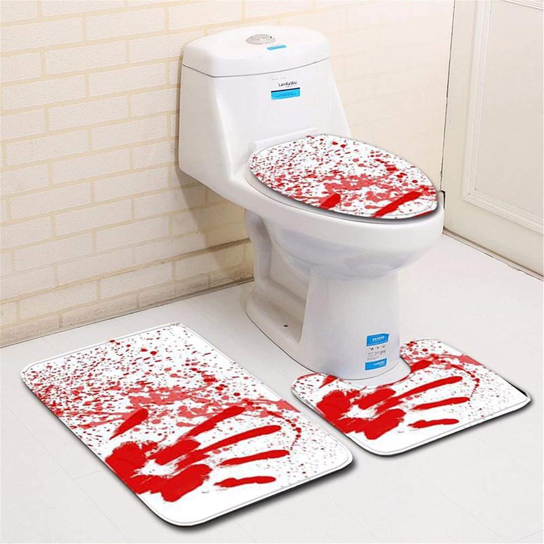 Blood Handprint Bathroom Toilet Three Piece Floor Mat Door Mat Bathroom Carpet I happy event Halloween Blut Handabdruck Badezimmer Toilette Drei St/ück Bodenmatte T/ür Matte Badezimmer Teppich