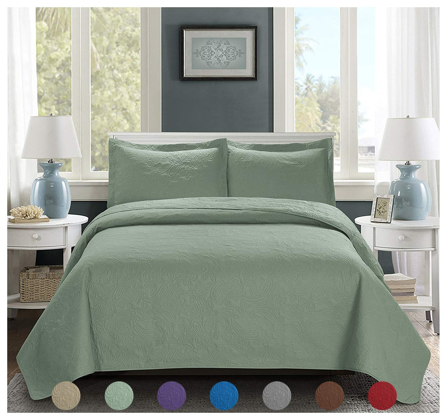 3 Piece Premium Comfy Embossed Bedspread Set,Oversized Ultrasonic Thermal Pressing Embossed Coverlet Set,Moderate Weight Bed Spread,MIKANOS(King,Sage)