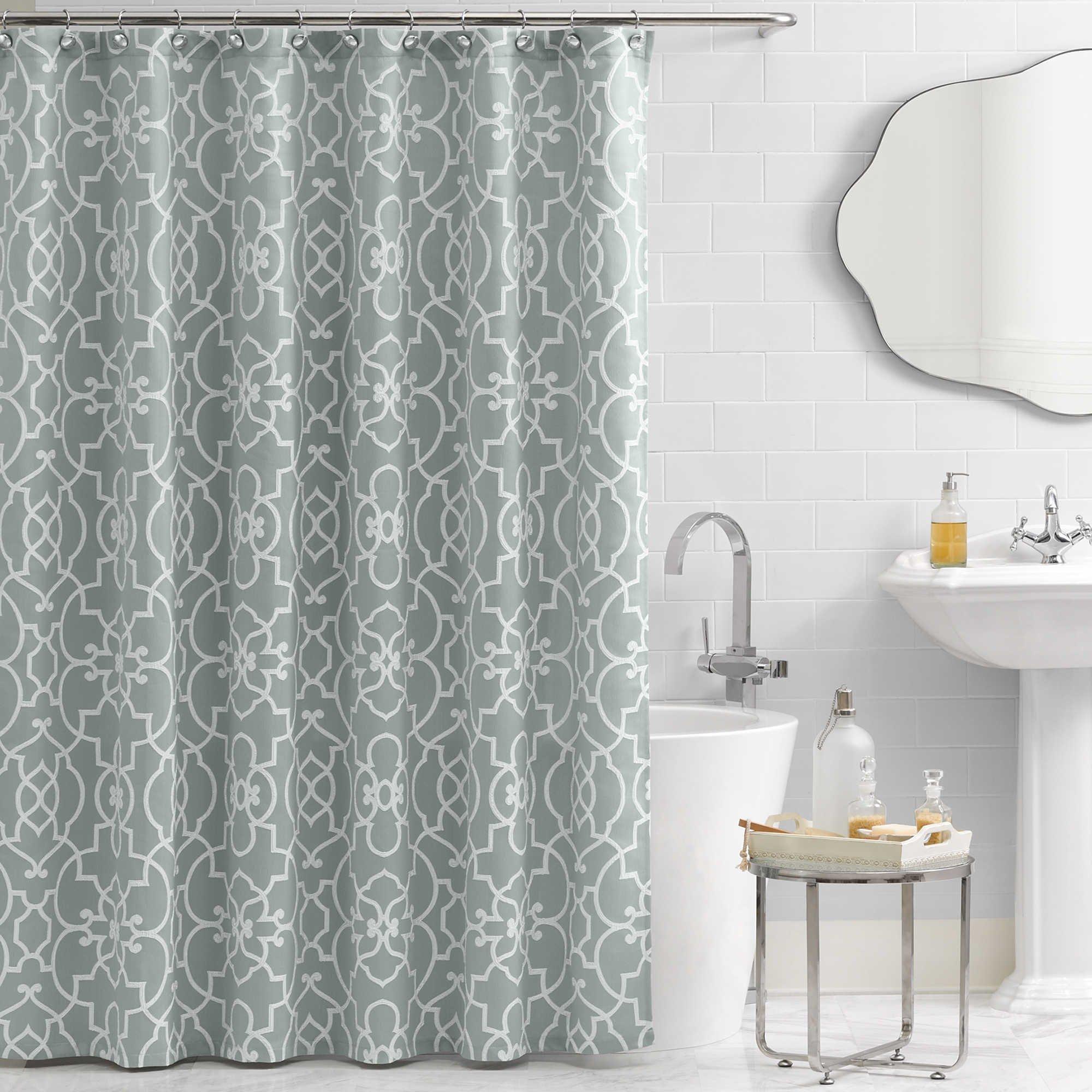 Vue Signature Iron Gates 72-Inch x 72-Inch Shower Curtain Spa Green