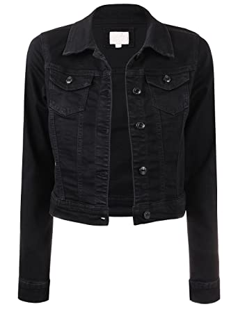 f6078f7ca3aea BEKTOME Womens Classic Vintage Long Sleeve Denim Jacket with Pockets-L-Black