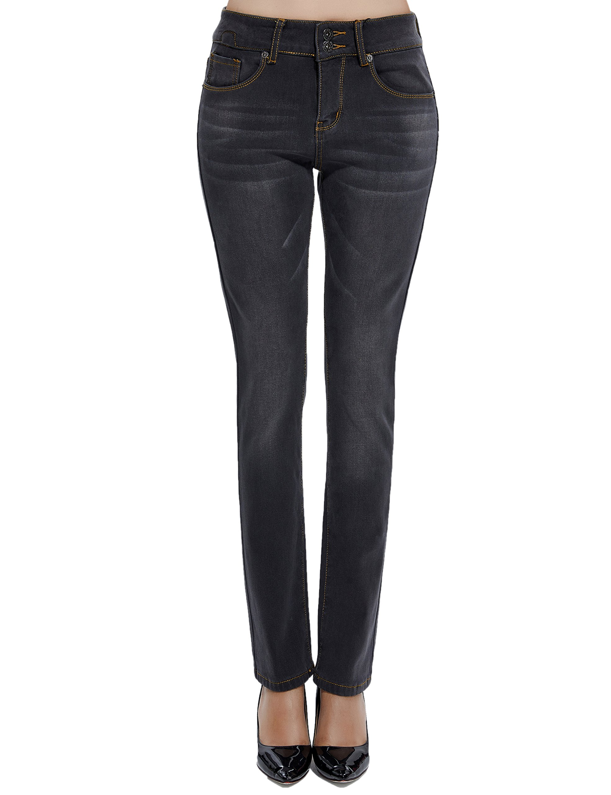 Camii Mia Women's Winter Regular Fit Fleece Lined Thermal Jeans (W26 x L30, Grey)