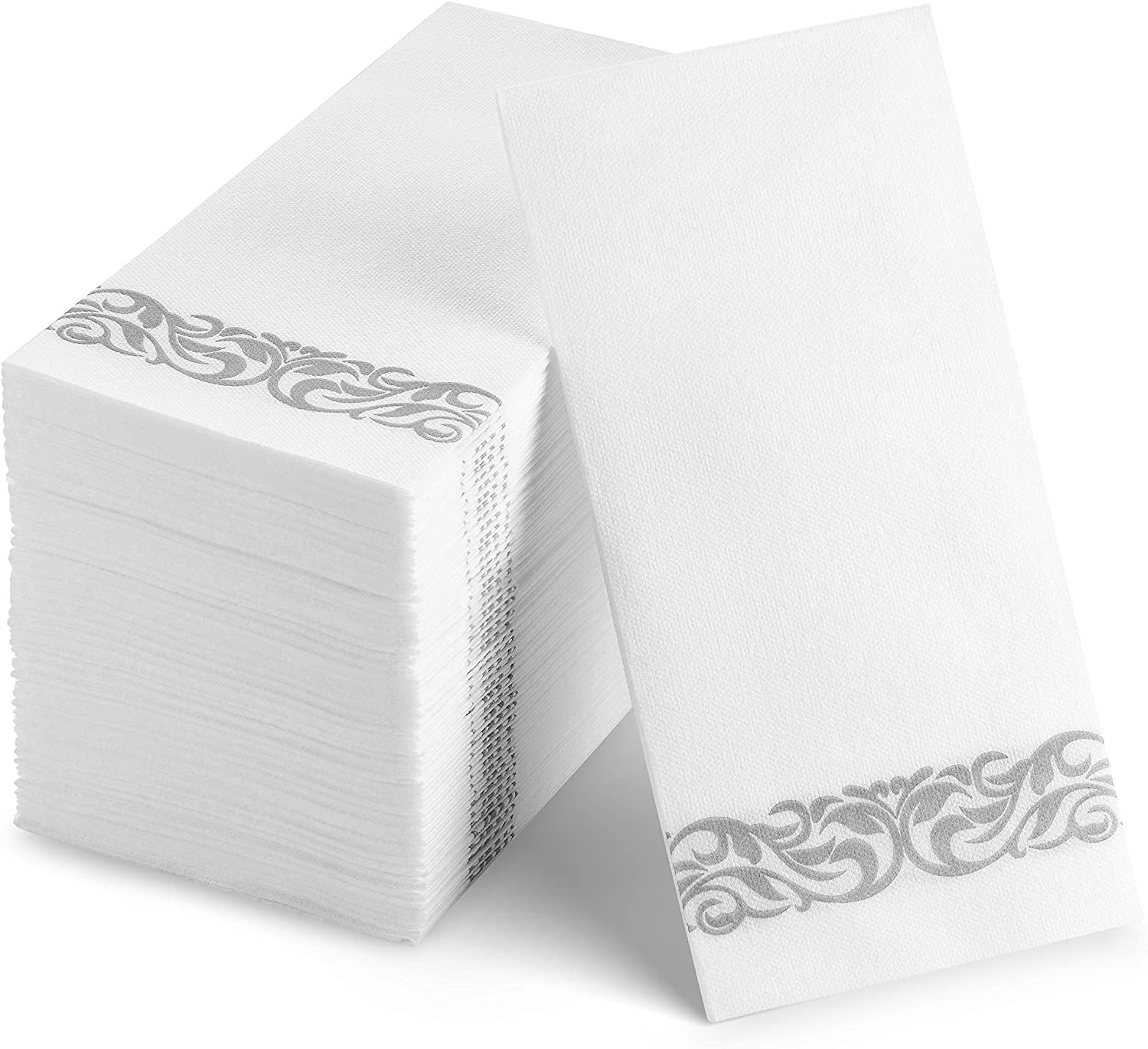 100 Disposable Guest Towels Soft and Absorbent Linen-Feel Paper Hand Towels Durable Decorative Bathroom Hand Napkins Good for Kitchen, Parties, Weddings, Dinners or Events White and Silver