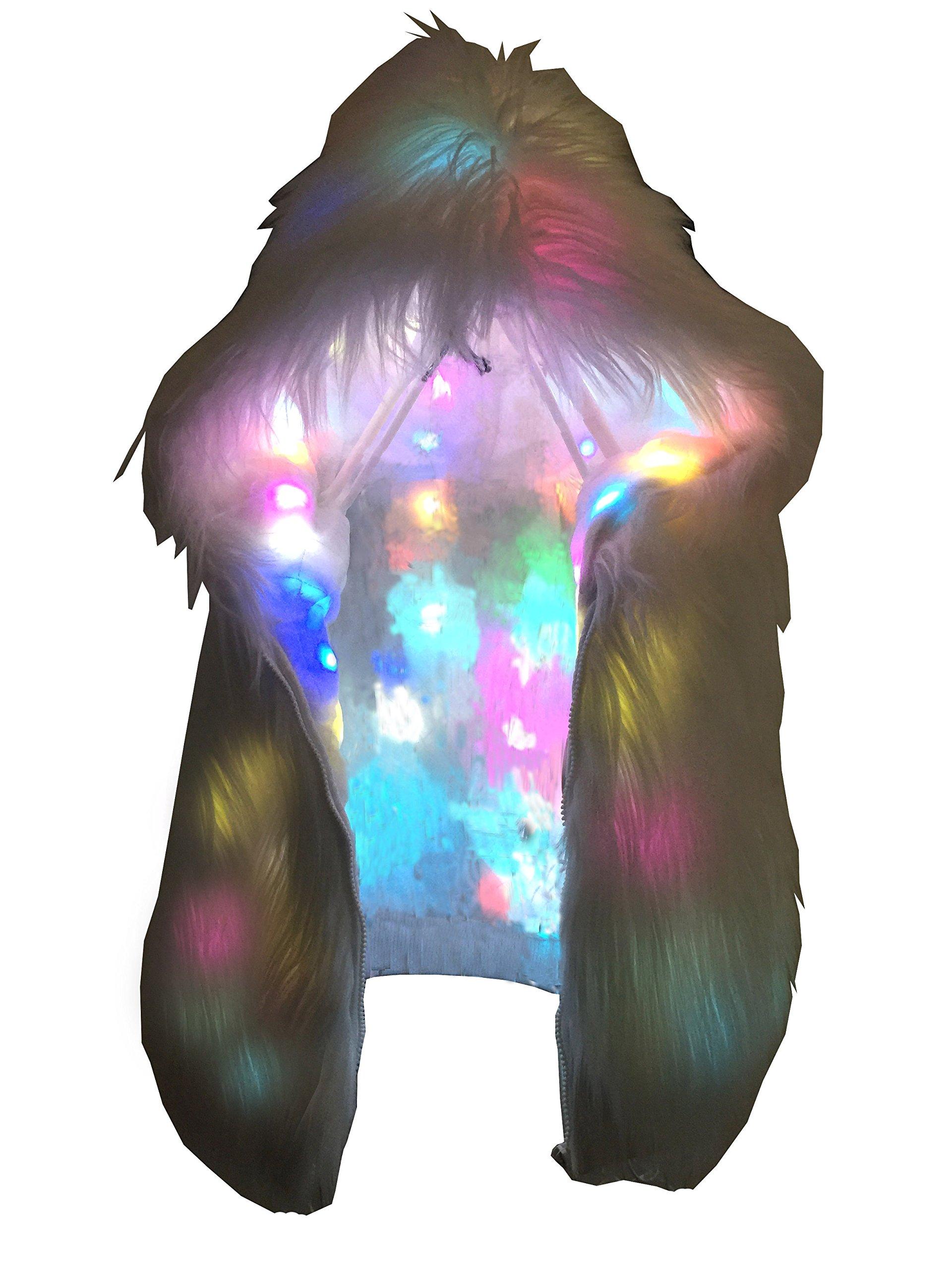 Oisk® Faux Fur Vest Coat Light Up Flashing LED Hood Waistcoat Costume Xmas Gift (US L)