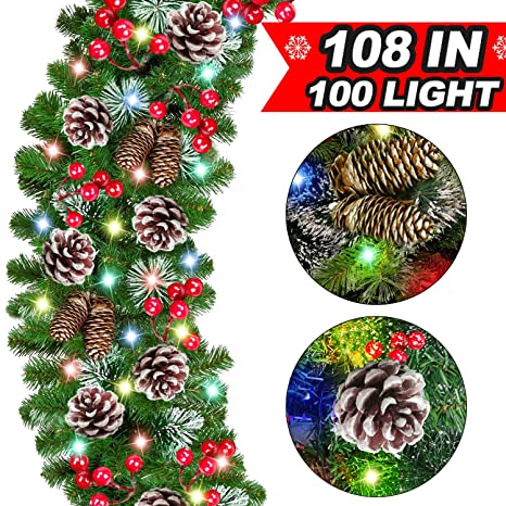 100 Led Lights Christmas Garland Decorations 108 By 10 Inch With Snow Battery Operated Pine Cones Berries Garland Greenery Xmas Indoor Outdoor Decor