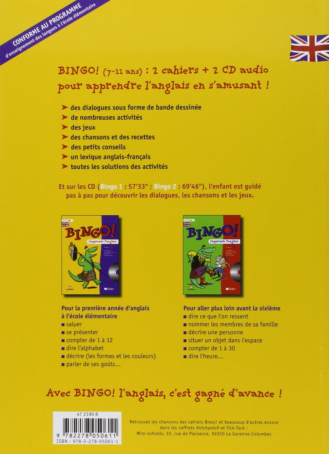 bingo japprends langlais niveau 2 cahier et cd audio