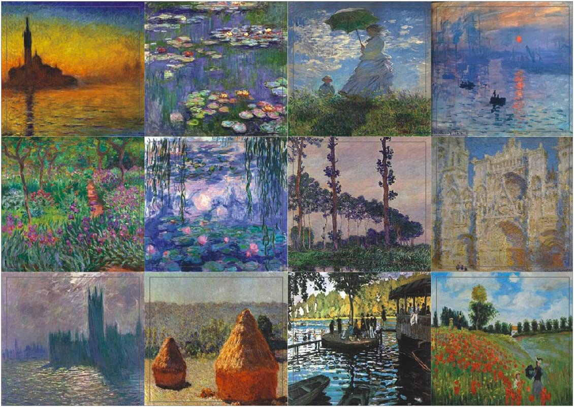 Creanoso Claude Monet Famous Paintings Stickers (10-Sheet) – Total 120 pcs (10 X 12pcs) Individual Small Size 2.1 x 2. Inches , Waterproof, Unique Personalized Themes Designs, Any Flat Surface DIY Decoration Art Decal for Boys & Girls, Children, Teens
