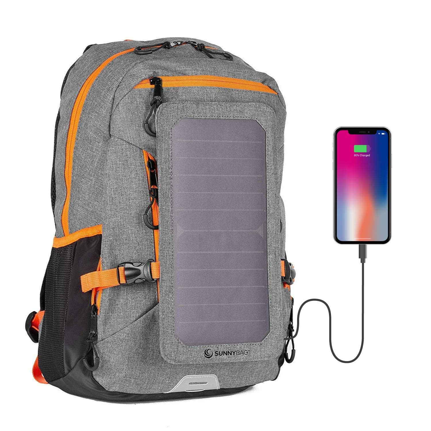 Sunnybag Explorer+ Solar Backpack | World's Strongest Solar Panel for Charging Smartphones and All USB-Devices on The go | 15l Volume and 15'' Laptop Compartment | Gray/Orange