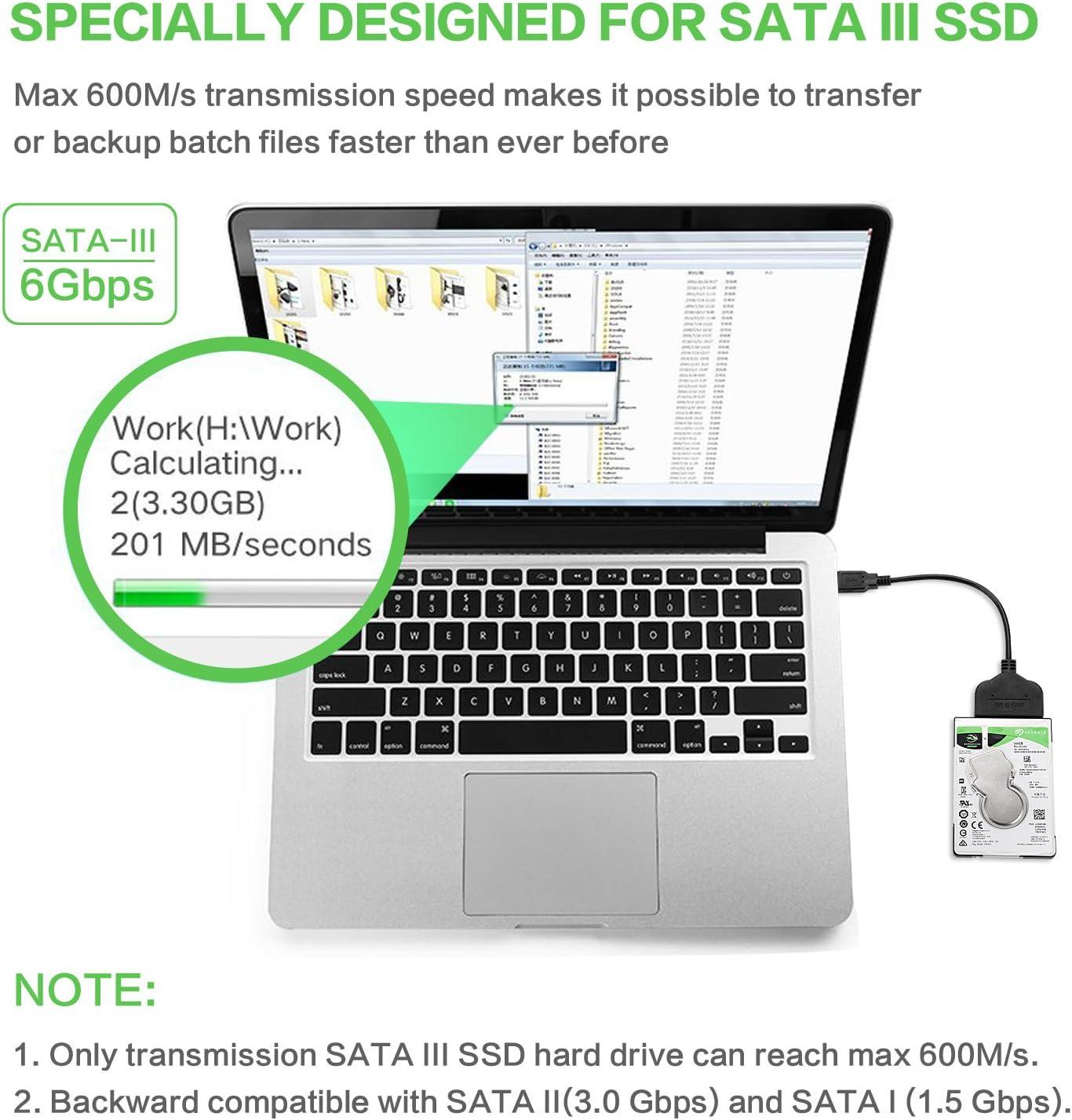 Yizhet Cable Adaptador para Discos de 2.5 Pulgadas USB 3.0 to SATA ...