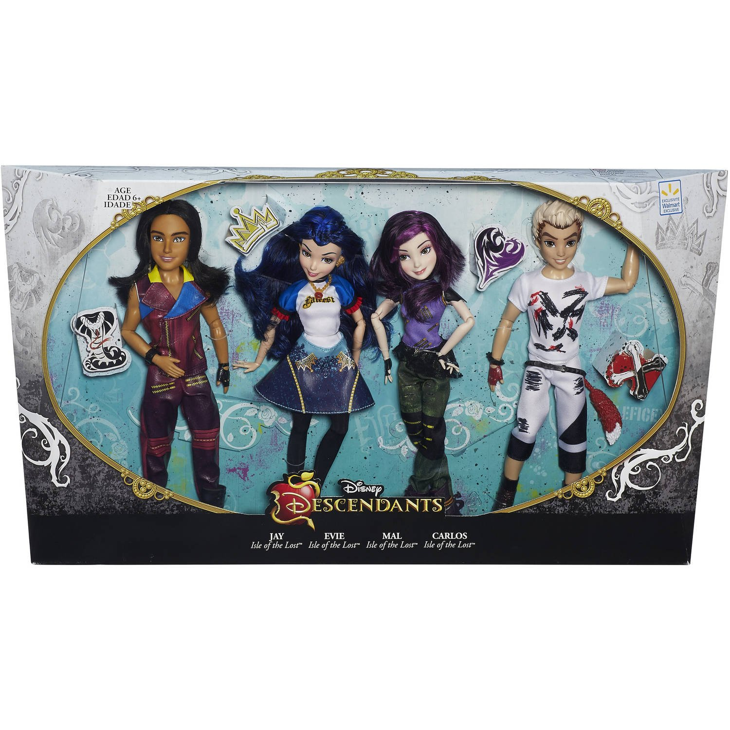 Amazon.es: Disney Descendants EXCLUSIVE Jay Evie Mal Carlos by Disney: Juguetes y juegos