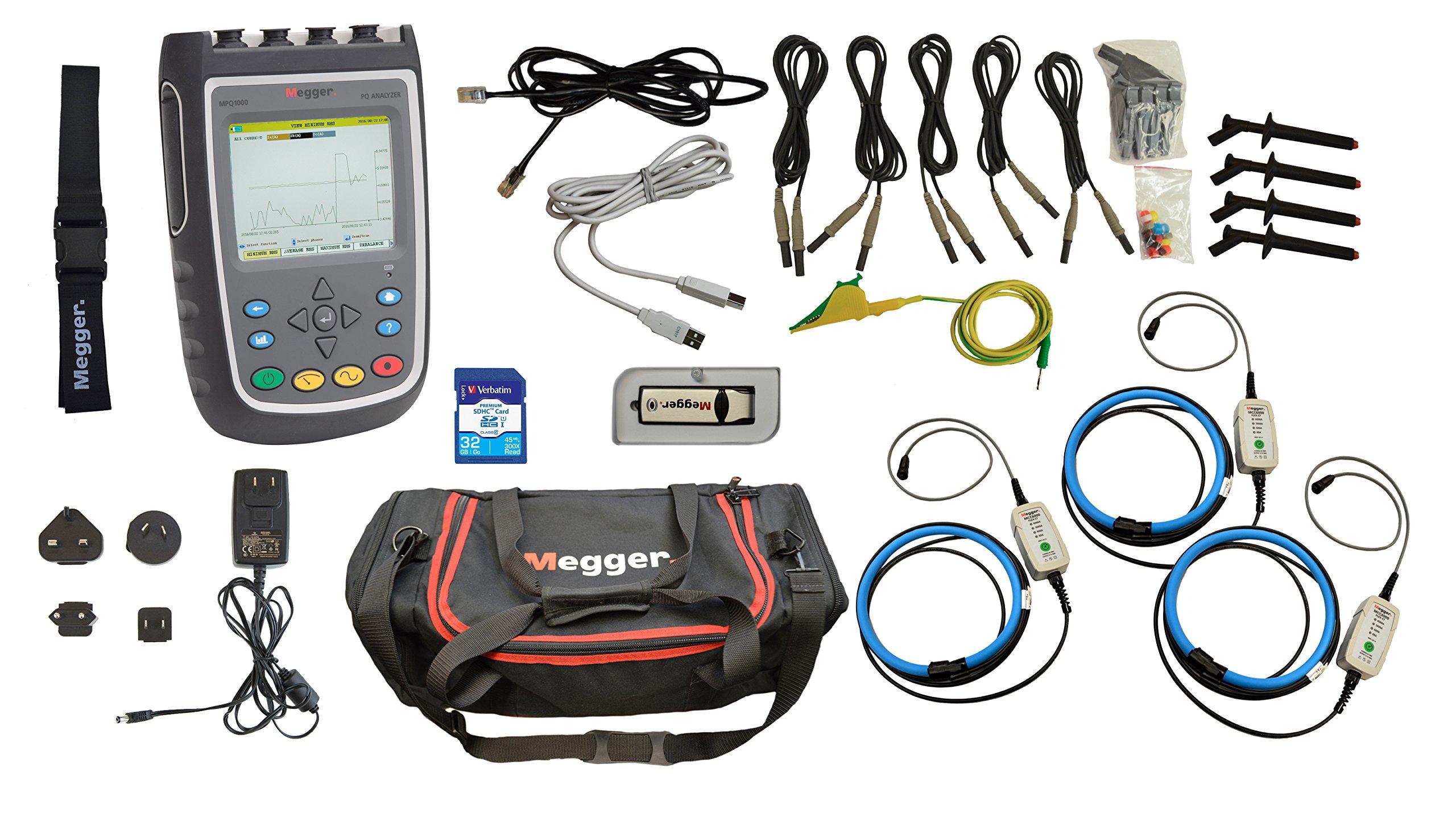 Megger MPQ1000-S-KIT Power Quality Analyzer, 6.89'' Width, 9.85'' Length