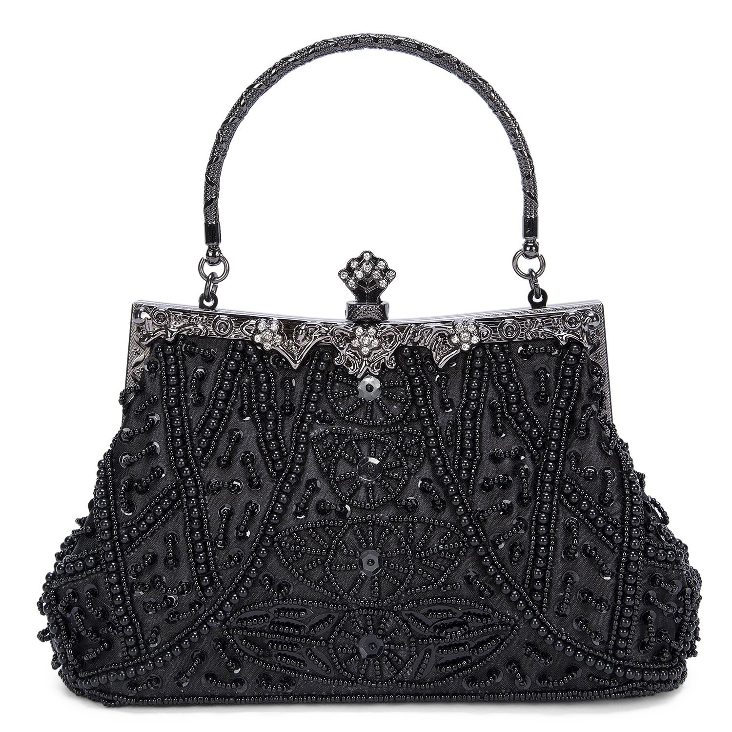Kaever Women's Vintage Style Beaded and Sequined Evening Bag Wedding Party Handbag Clutch Purse (Black)