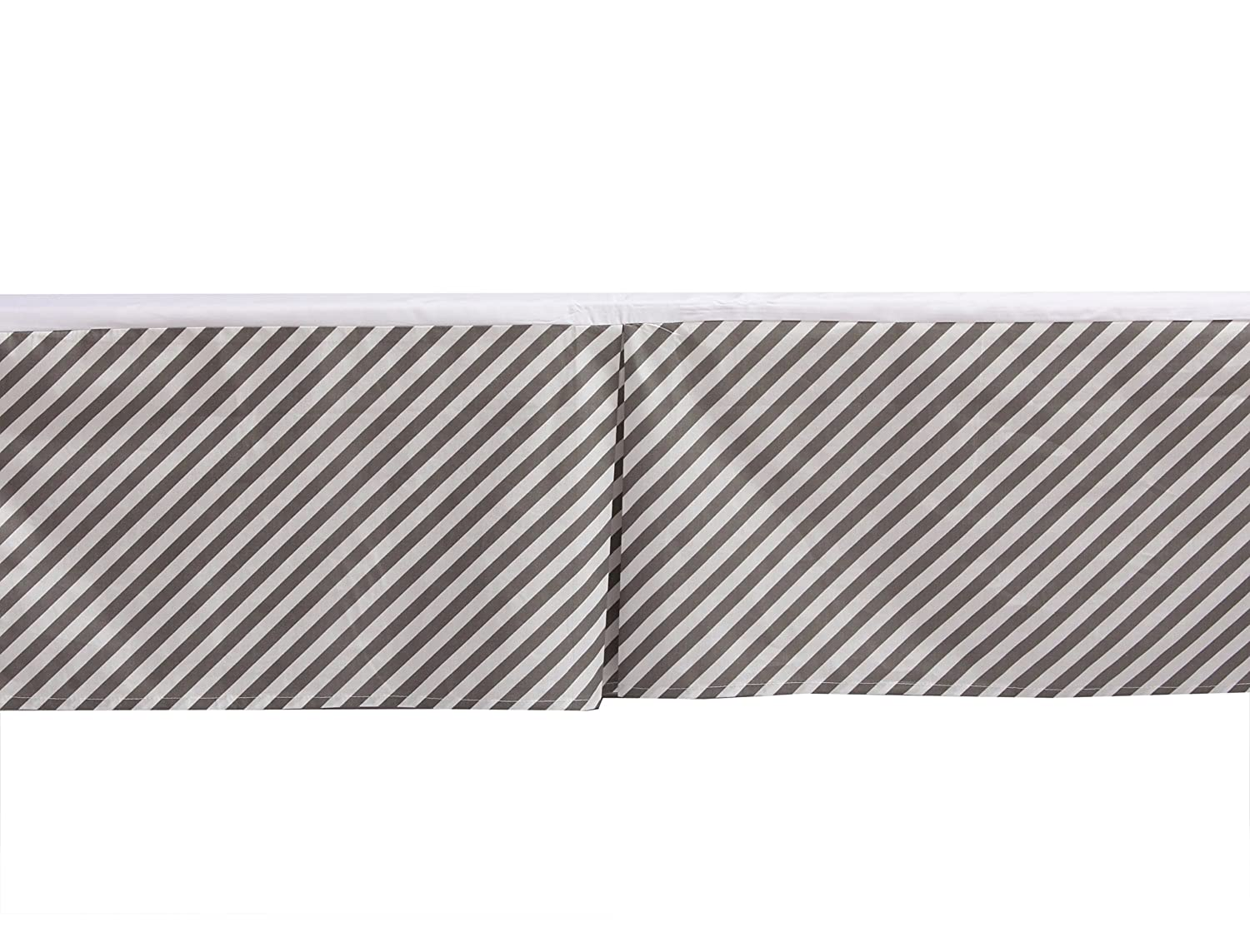 Bacati Love Warp Stripes Crib//Toddler Bed Skirt 13 Black//White