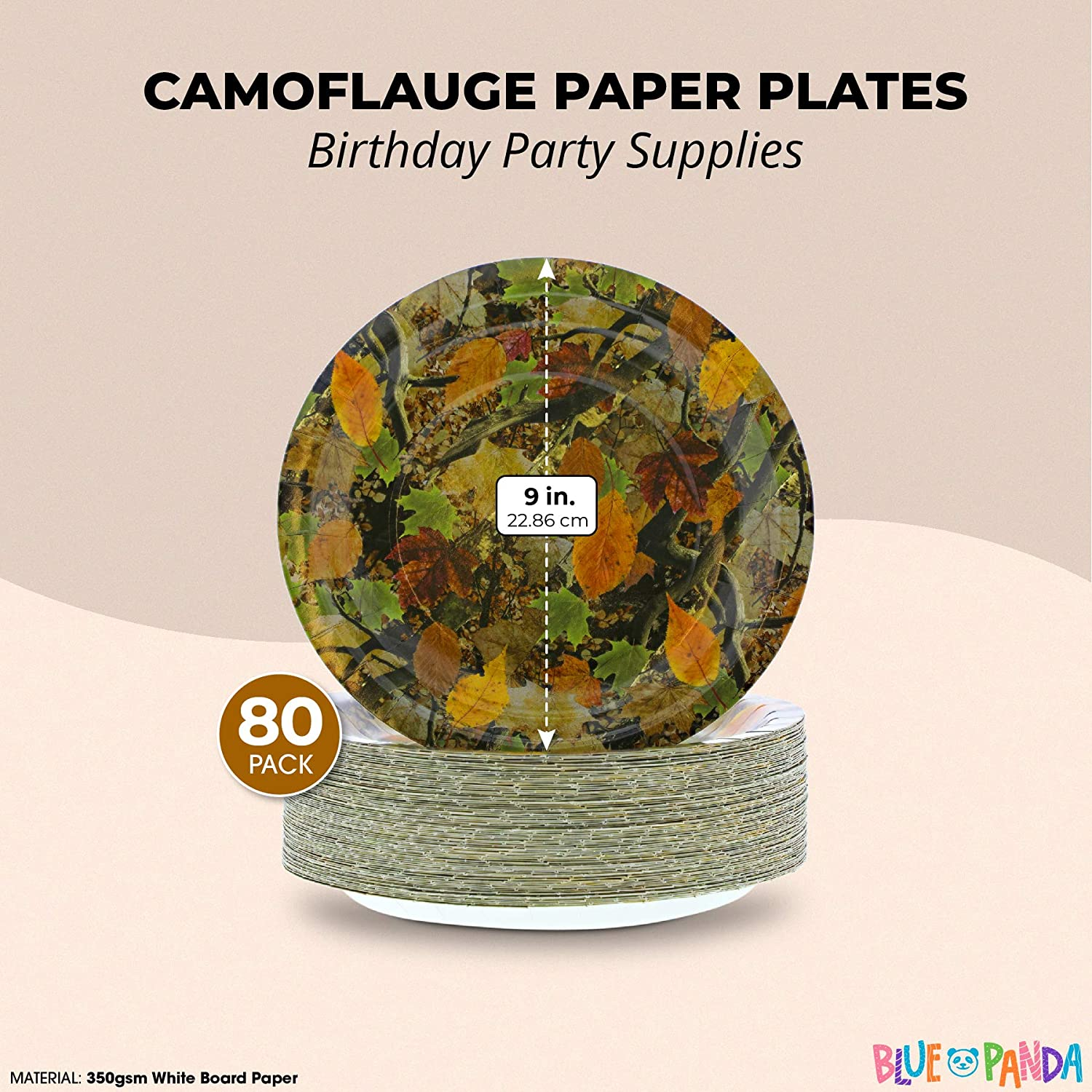 9 In, 80 Pack Camouflaged Paper Plates for Birthday Party
