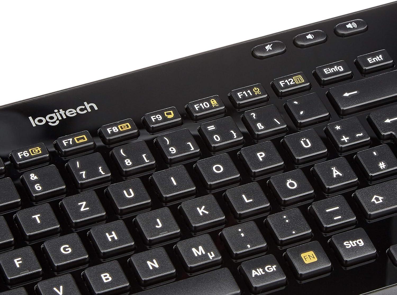 Logitech K360 Teclado Inalámbrico Compacto para Windows, Disposición QWERTZ Alemán , Negro