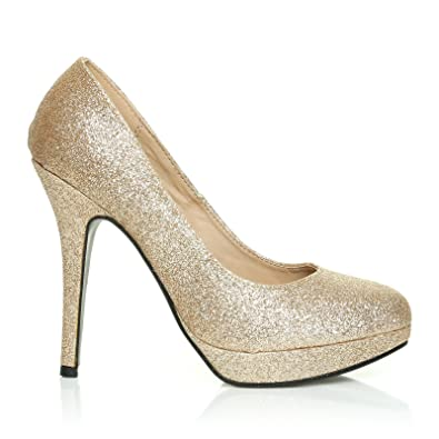 EVE Champagne Glitter Stiletto High Heel Platform Court Shoes   Amazon.co.uk  Shoes   Bags d534739f8be0