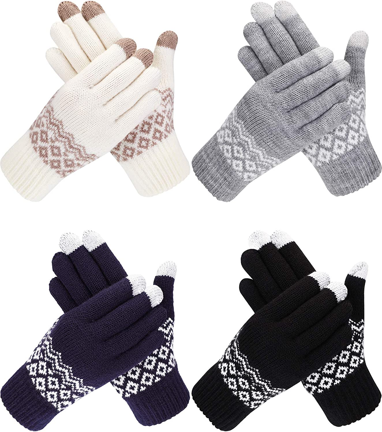 Bememo 4 Pairs Winter Cable...