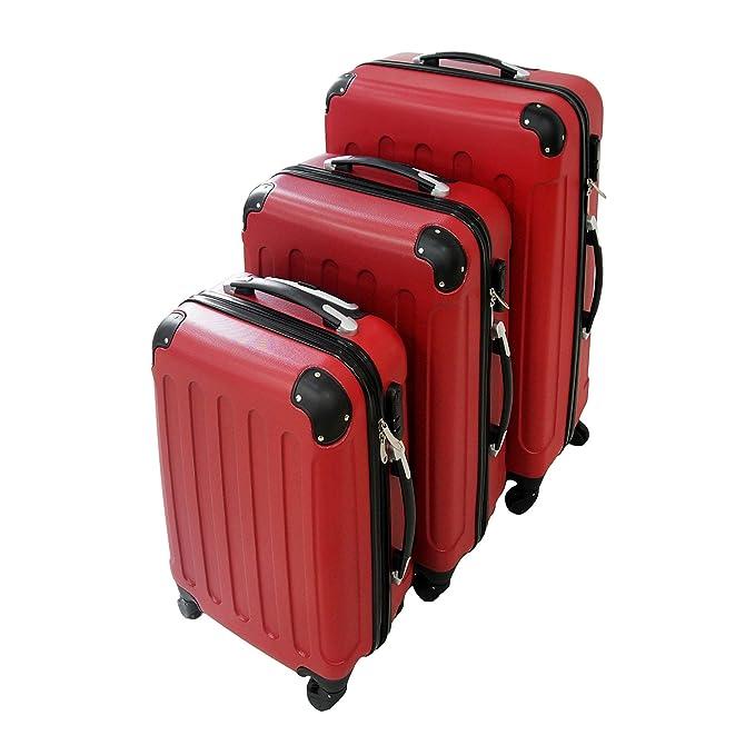db80965cc Todeco - Juego de Maletas, Equipajes de Viaje - Material: Plástico ABS -  Tipo de Ruedas: 4 Ruedas de rotación de 360 ° - 51 61 71 cm, Rojo, ...