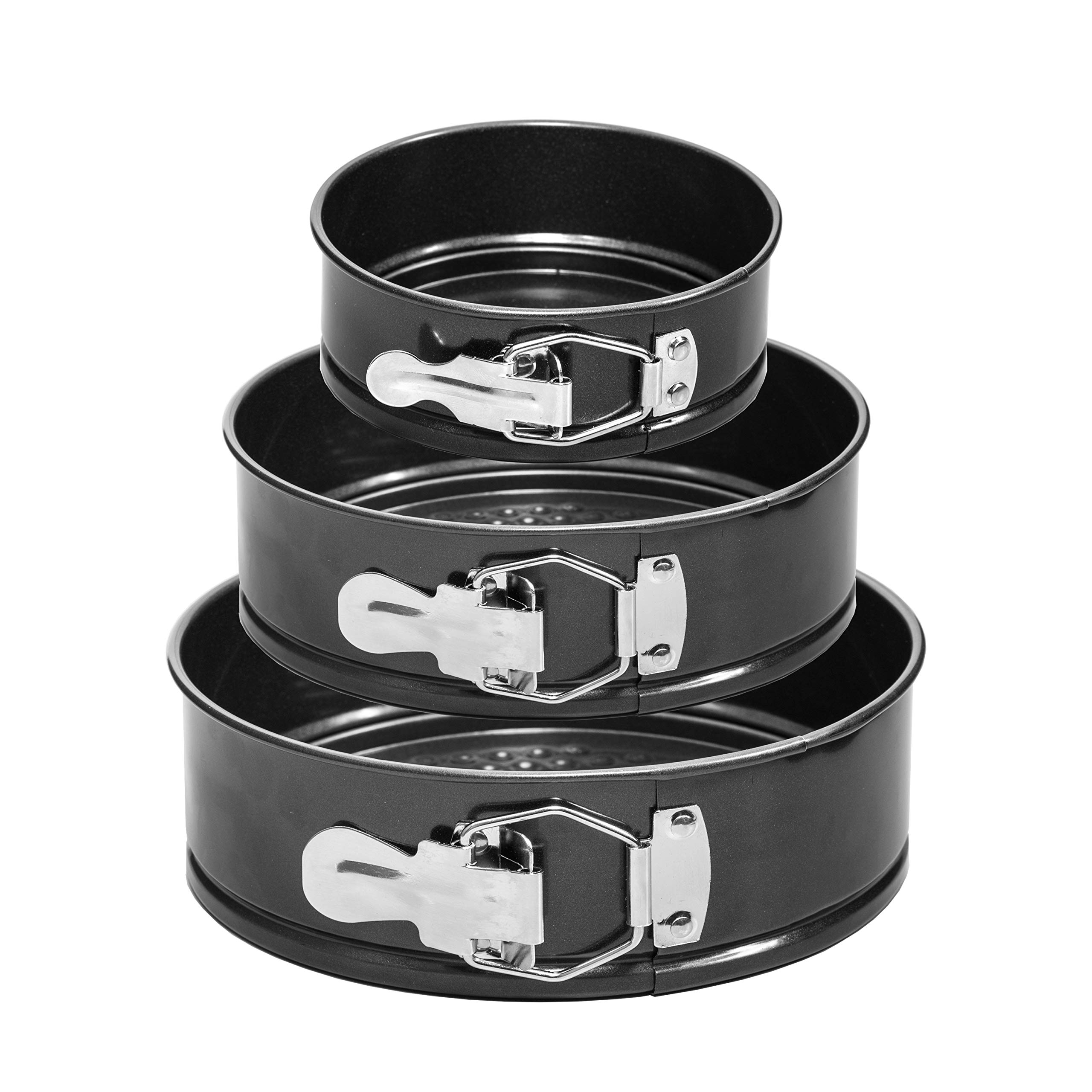 HomeBee Non-Stick Springform Pan Set of 3 (4'', 7'', 9 Inch) | Leakproof Round Baking Pans with Quick Release Latch and Removable Bottom | Cheesecake, Wedding Cake Bakeware Set | Black (3 piece) by HomeBee