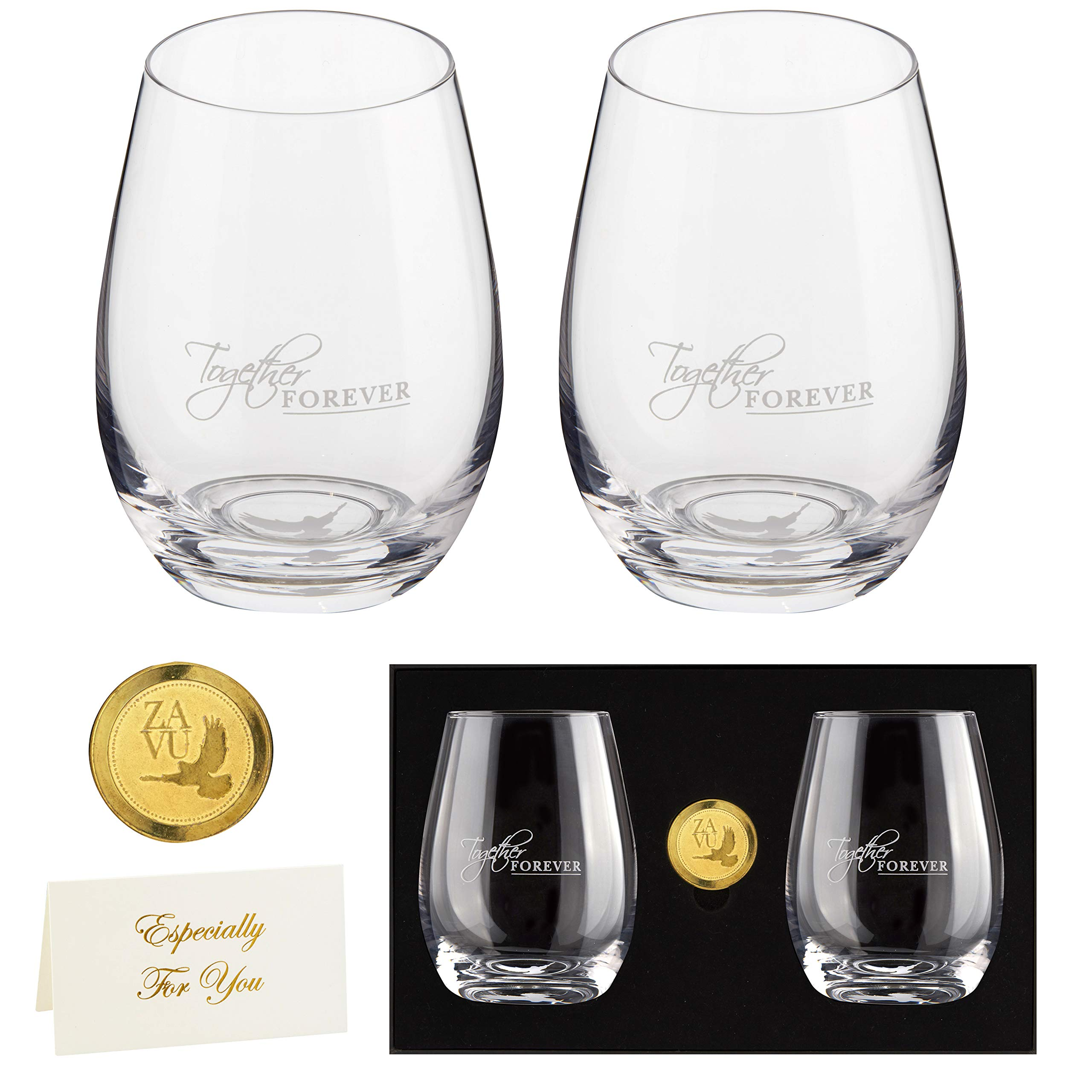 Anniversary Gift- Crystal Stemless Wine Glasses Set of 2 | Precision Lead Free Hand Blown | Large 22oz | Ready To Go gift, gift card + engravable gold coin | Anniversary Gift for Couple, Wedding Gift by ZAVU