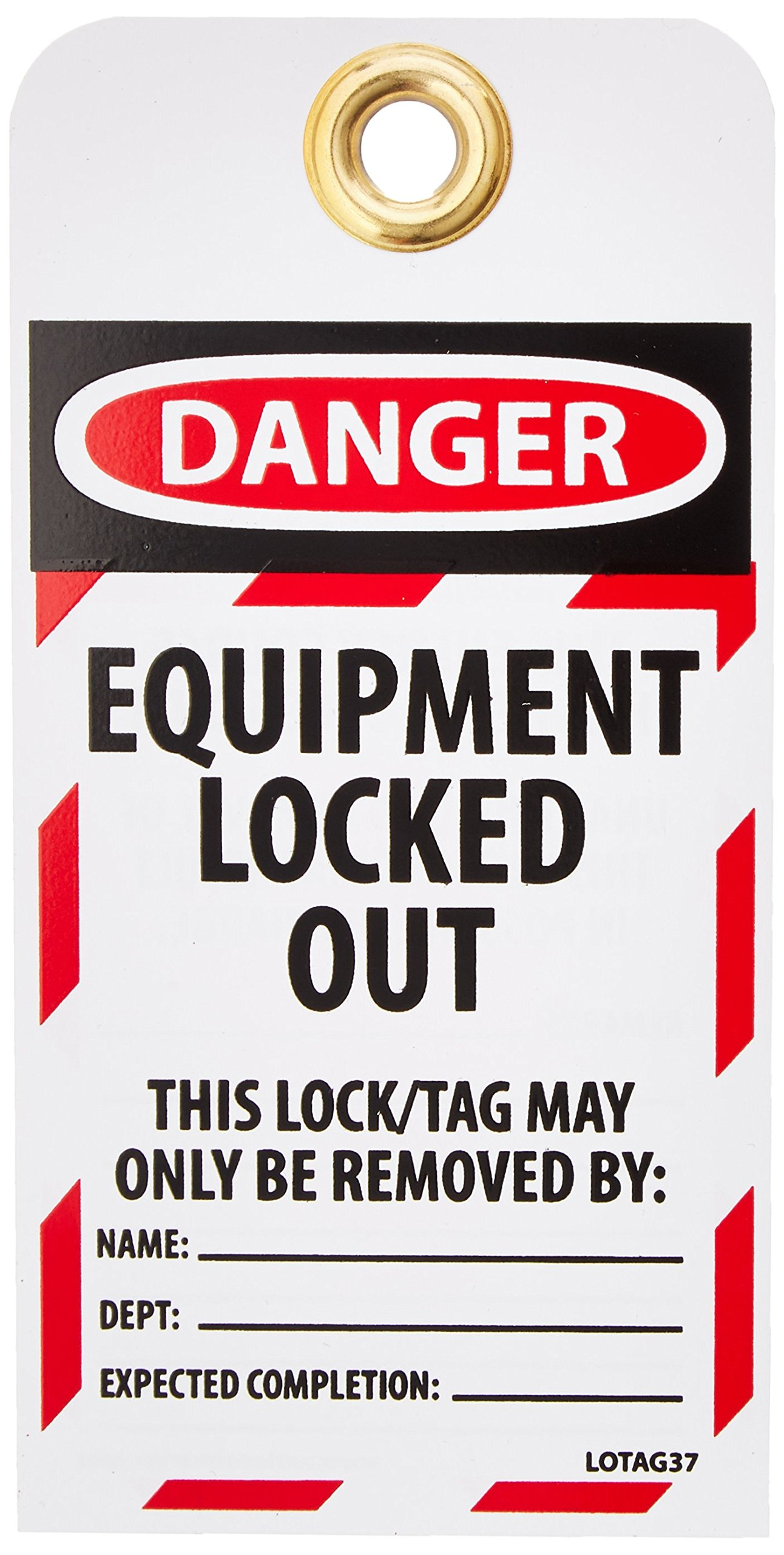 NMC LOTAG37-25 ''DANGER - EQUIPMENT LOCKED OUT'' Lockout Tag, Unrippable Vinyl, 3'' Length, 6'' Height, Black/Red on White (Pack of 25)