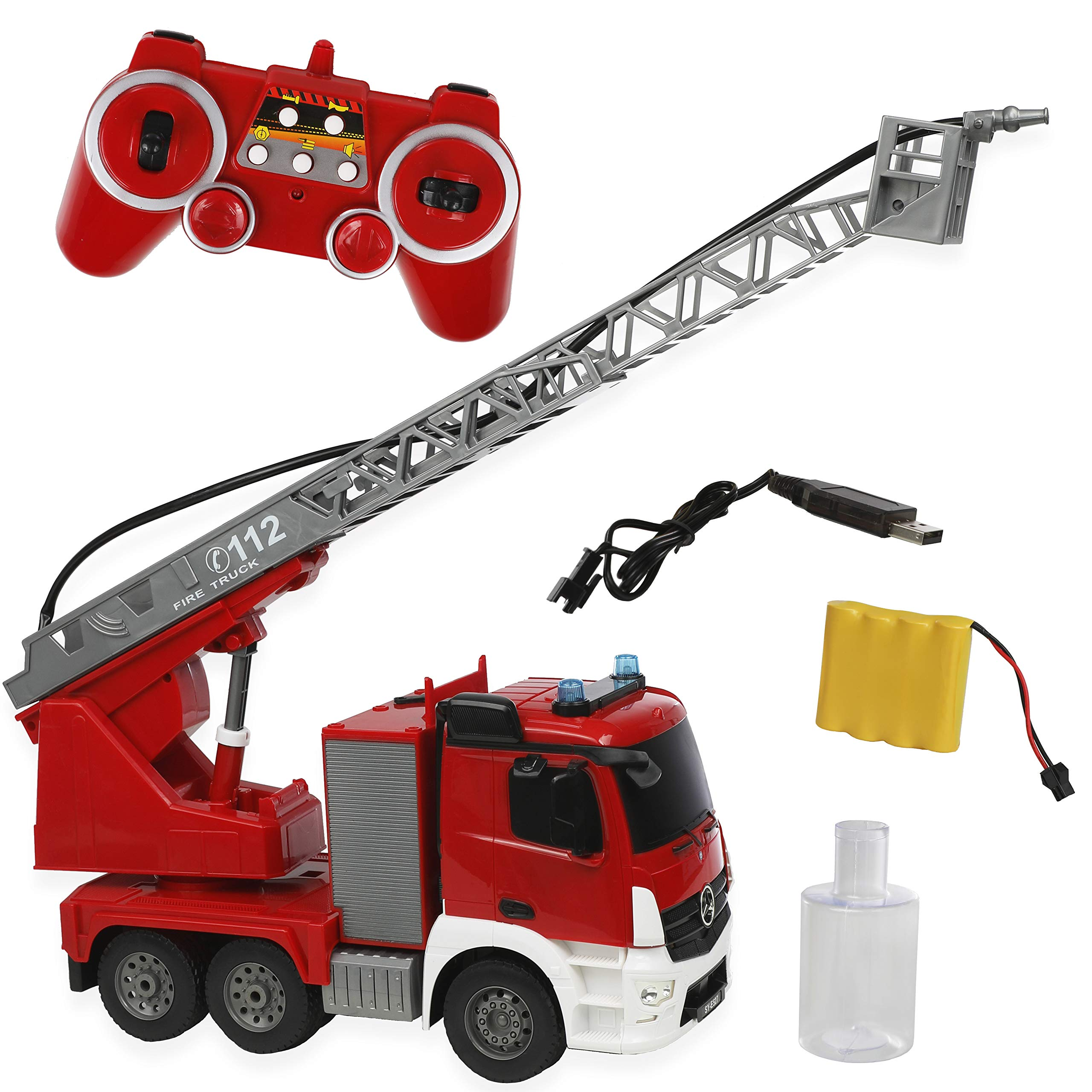 DOUBLE E Remote Control Fire Truck 10 Channel Water Pump 18 Inch Extendable Ladder Fire Engine with Working Sounds Lights Rechargeable 2.4GHz Toy Trucks for Kids