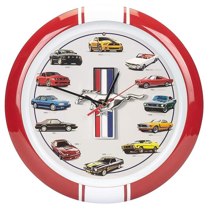 """Mark Feldstein & Associates History of Mustang Sound Clock, 13"""", Red"""