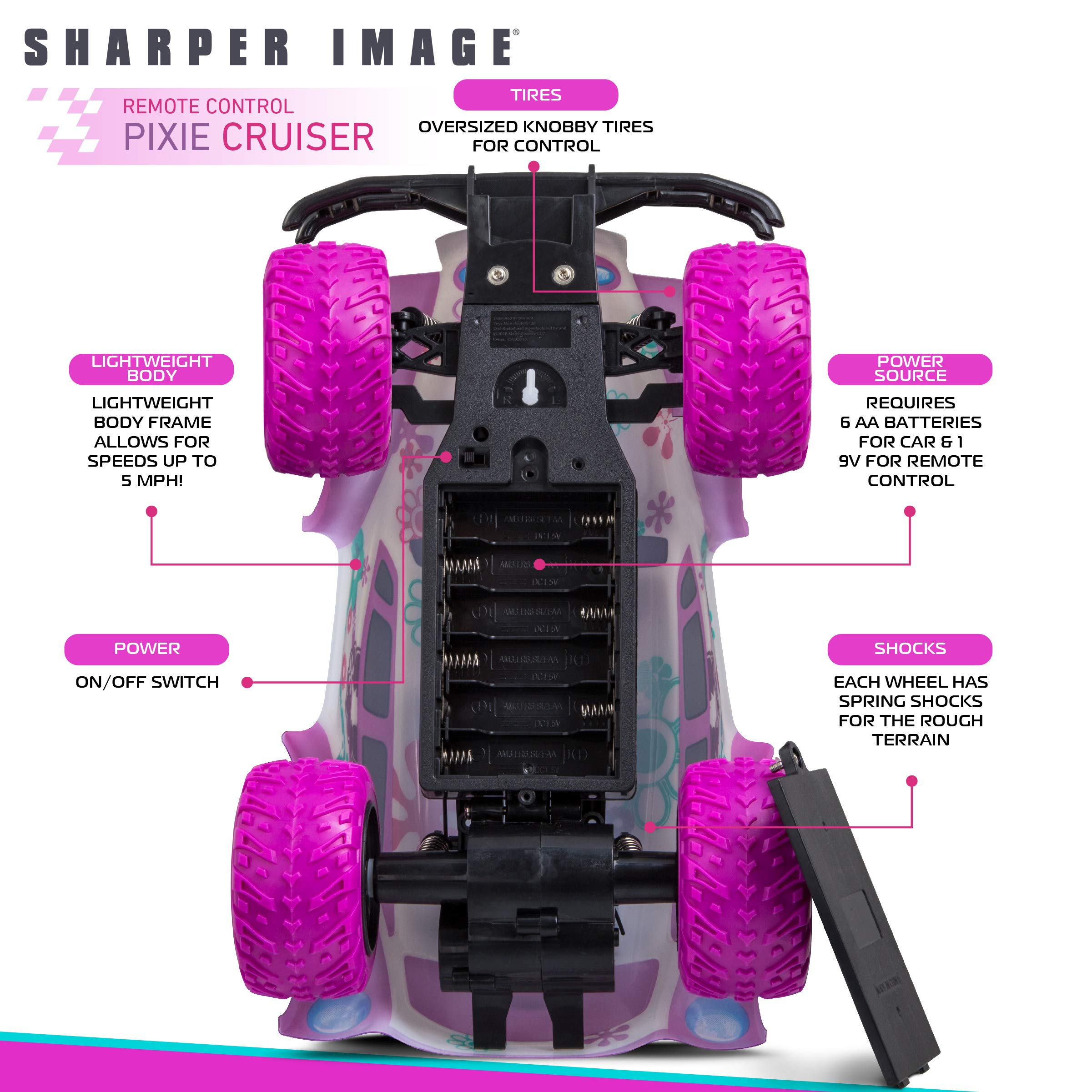 SHARPER IMAGE Pixie Cruiser Pink and Purple RC Remote Control Car Toy for Girls with Off-Road Grip Tires; Princess Style Big Buggy Crawler w/ Flowers Design and Shocks, Race Up to 5 MPH, Ages 6 Year + by Sharper Image (Image #4)