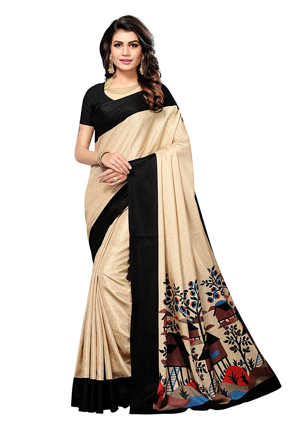 Shonaya Womens Black & Beige Colour Manipuri Silk Printed Saree RTMNP-1007