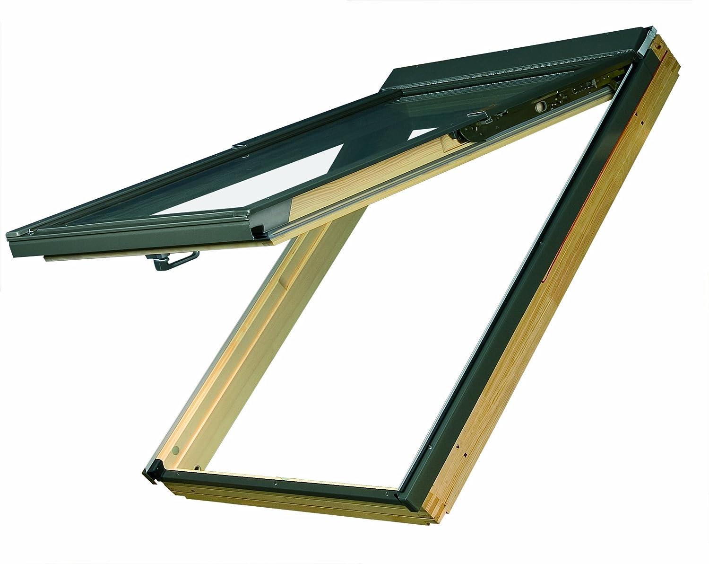 Dachfenster Fakro Klapp-Schwingfenster 78x160cm Holz mit Dauerlüftung Standardverglasung U3 mit Eindeckrahmen für Biber