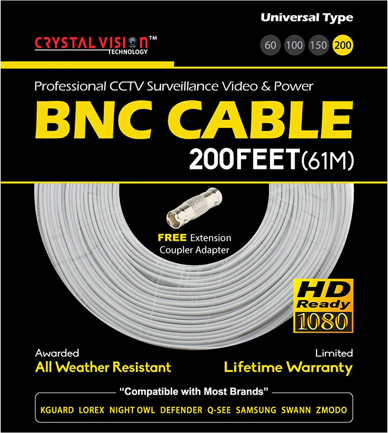 NEW High Quality 3 100FT Thick BNC EXTENSION CABLE for Samsung,Swann,Zmodo,Lorex