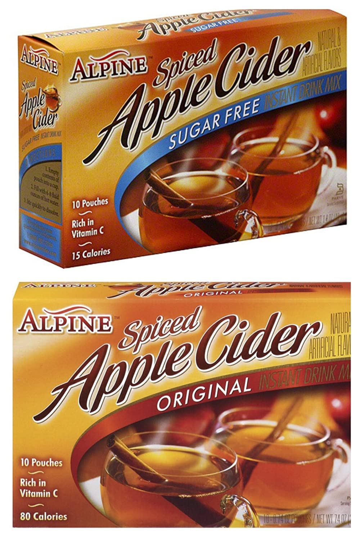 Alpine Spiced Cider Apple Bundle, 1 Original and 1 Sugar Free 10-count Box Each (2 Pack)
