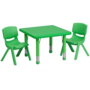 Flash Furniture 24'' Square Green Plastic Height Adjustable Activity Table Set with 2 Chairs