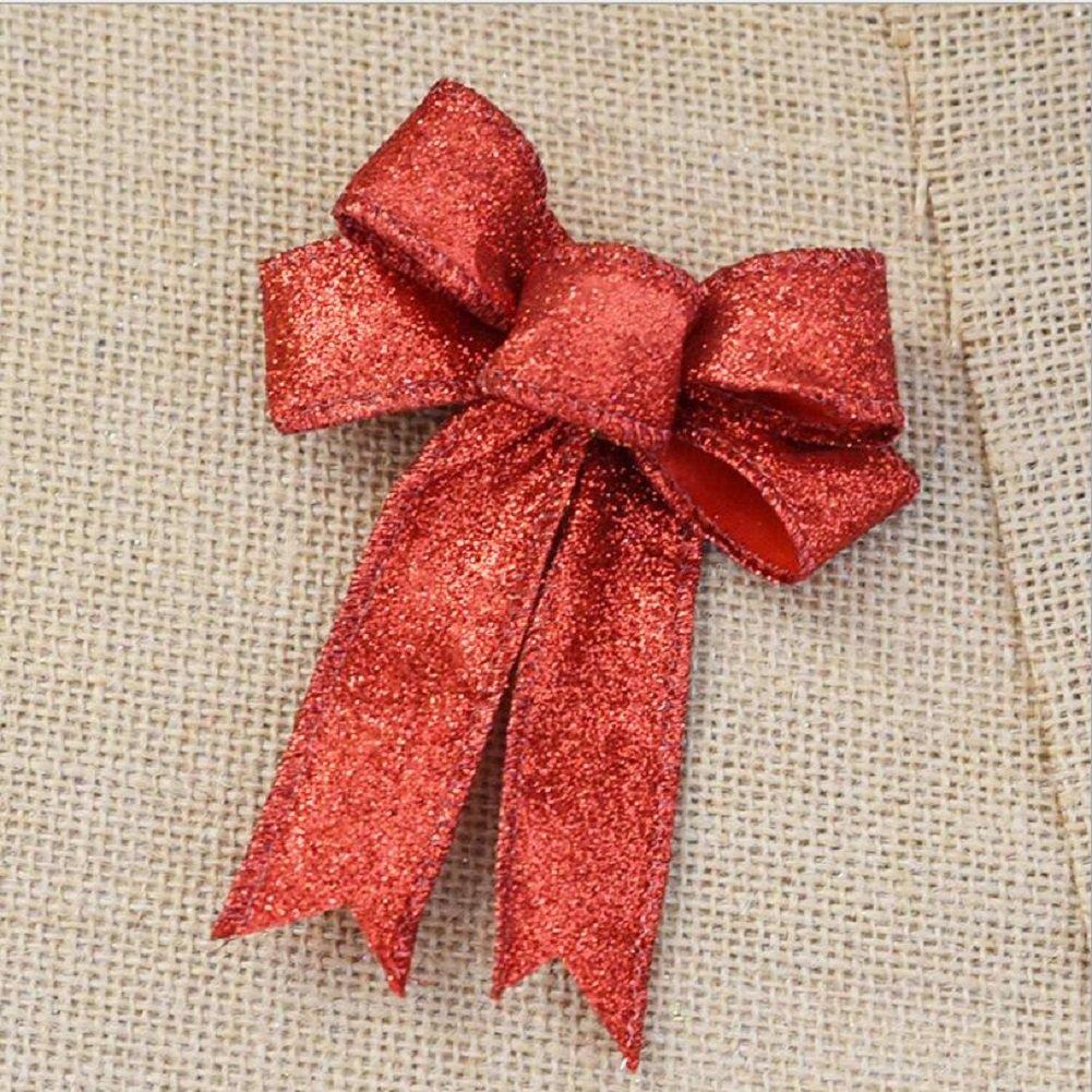 Christmas Bowknot, Venkaite Xmas Bowknot Ornament for Wreath Christmas Tree /Xmas Party, Red
