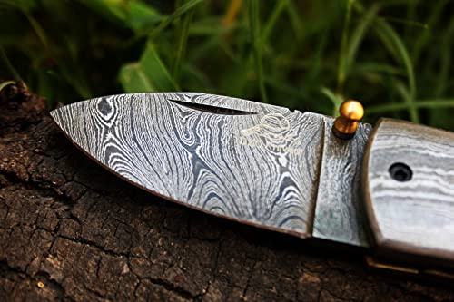 DKC Knives 20 5 18 DKC-43 White Thumb Damascus Steel Folding Pocket Knife 3.5 Folded 6.25 Long 2.25 Blade 7.25 oz High Class Looks Incredible Feels Great in Your Hand and Pocket Hand Made