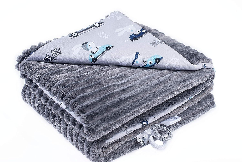 EliMeli Couverture d/éveil pour b/éb/é 75 x 100 cm en tissu microfibre ultra doux /à rayures en coton Garnissage de grande qualit/é Id/éal comme couverture de poussette
