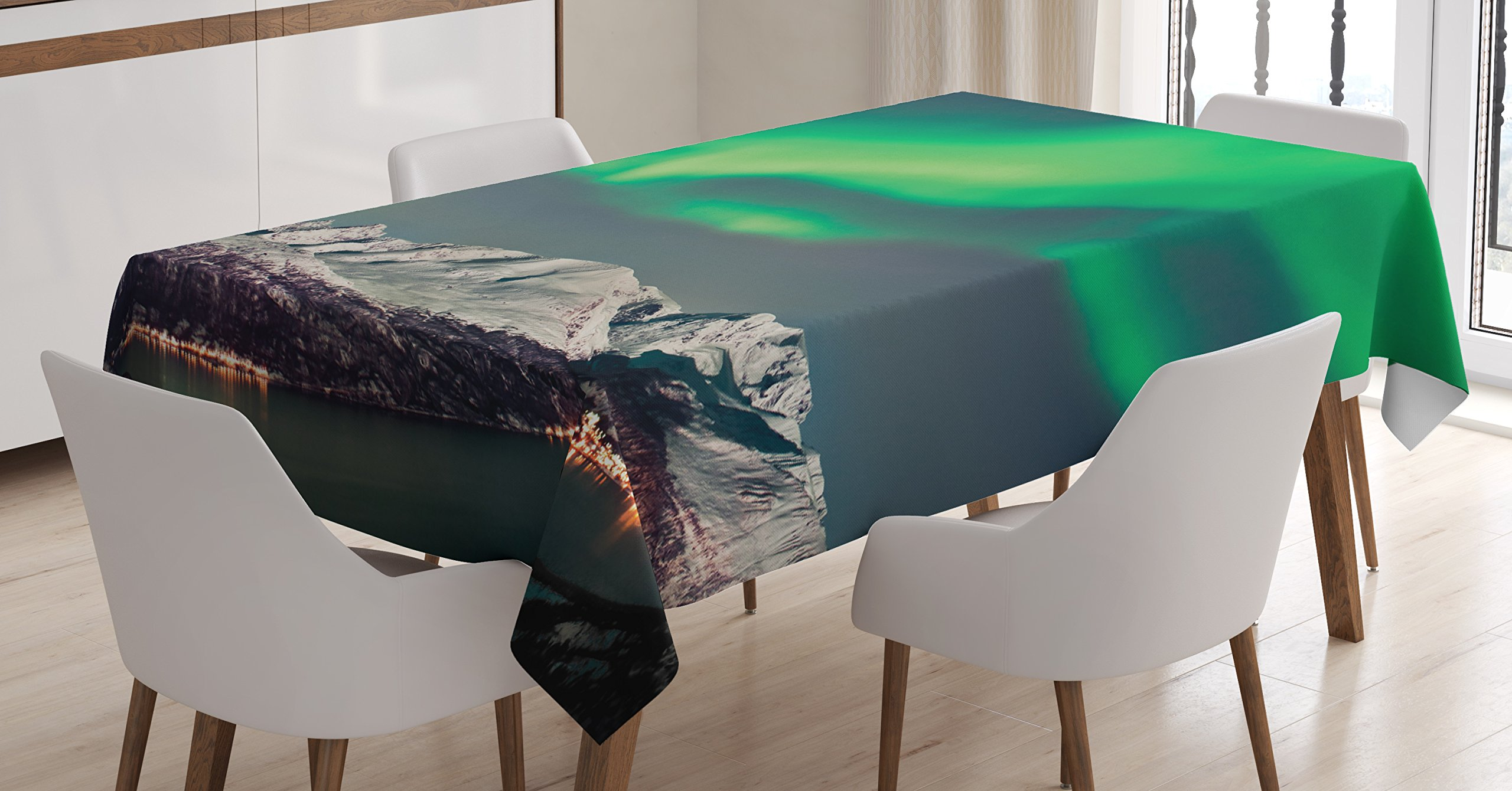 Ambesonne Nature Tablecloth, Aurora Above Fjords Magical Nordic Aurora Borealis Sky Arctic Solar Scenery, Dining Room Kitchen Rectangular Table Cover, 60 W X 90 Inches, Jade and Green