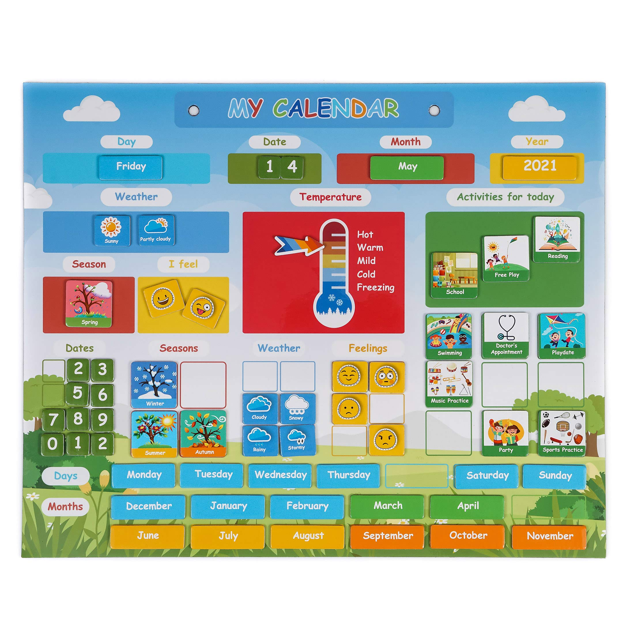 Simply Magic Kids Calendar - My First Daily Magnetic Calendar for Kids - Amazing Preschool Learning Toys for Toddlers - Preschool Classroom Calendar for Fridge or Wall - Weather Chart, Feelings, Days