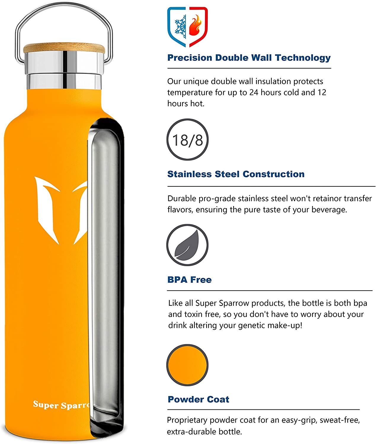 Super Sparrow Water Bottle -1000ml Leak Proof Sports Bottle Bottle Pouch with 2 Exchangeable Caps Standard Mouth Double Wall Vacuum Insulated Stainless Steel Bottle